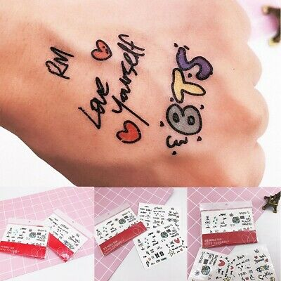 KPOP BTS Bangtan Boys Waterproof Removable Temporary Tattoo Sticker Paper Decor