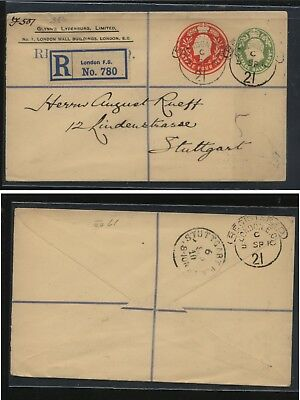 Great Britain  double embossed registered postal envelope to Germany      MS0121
