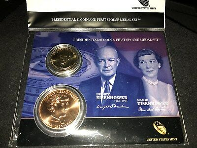 2015 Eisenhower Presidential Dollar and First Spouse Mamie Medal Set