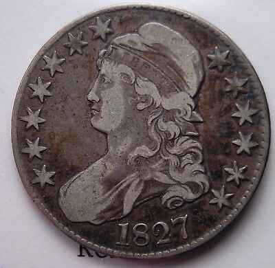 """1827 Capped Bust Half Dollar Fine/ Very Fine Super Nice Natural """"Circ Cam"""" Look"""