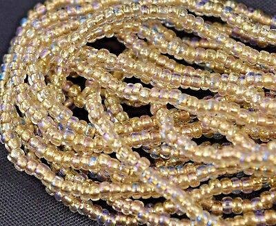 Vtg 1 HANK GOLD LINED CLEAR AB LUSTER GLASS SEED BEADS 10//0 CZECH #061912h