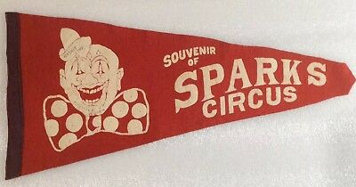 Vintage Aug 1947 Sparks Circus Pennant w Creepy Clown From Medicine Hat Alberta