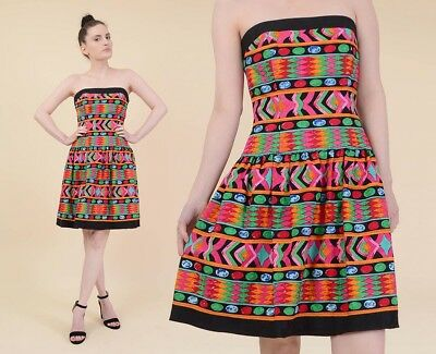 Vintage 80s strapless geometric cotton fit and flare mini party dress S M 6 8
