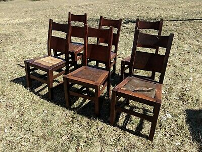 Mission Craftsman Arts and Crafts Oak Antique Dining Chairs Stickley Era 6
