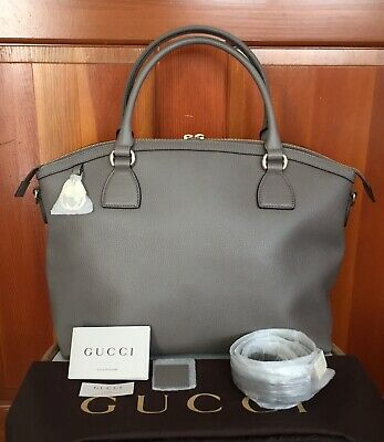 9271c70088f7 New Gucci GG Dollar Calf Top Handle Handbag Gray Pebbled Leather 2 Way Tote  Bag