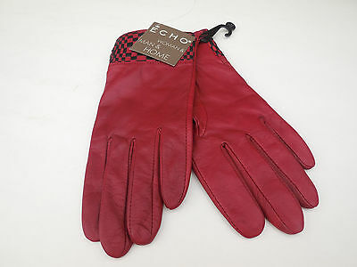 **New Echo Ladies Red Leather Gloves Polyester Fleece Lining Size Medium