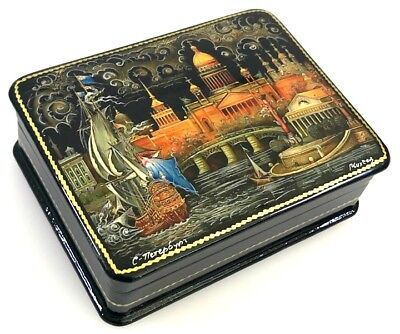 Altes St.Petersburg - Russische Lackdose Schatulle Fedoskino Russian lacquer box