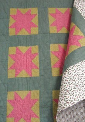 Mint! c 1880s PA Stars ANTIQUE Quilt Green Yellow Brown Farmhouse
