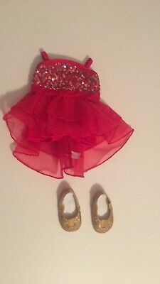 American girl doll red shimmer jazz dress with gold shoes