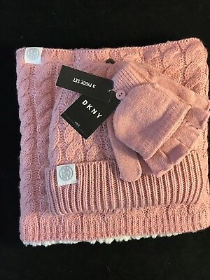 BNWT DKNY Girls Beanie Neck Warmer & Mittens Gift Set Age 7 Plus1 Size Gift Idea