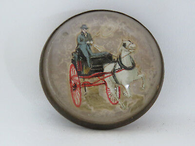 Early 1800s Hand Painted Small Horse and Buggy Portrait Belt Buckle 9209A