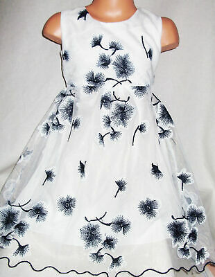 GIRLS DARK BLUE EMBROIDERED ORIENTAL BLOSSOM PRINCESS PAGEANT PARTY DRESS age8-9