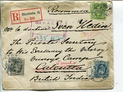 Sweden reg cover to Swedish explorer Sven Hedin in India 1907 from his father