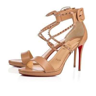 326e2ce7d0e New Christian Louboutin Choca Lux High Leather Women s Sandals Heels Size  37.5