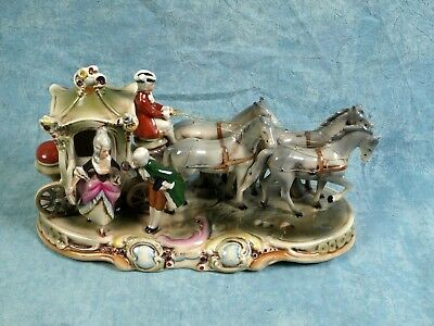 Carl Schneider Erben Porcelain 4 Horses Carriage Figurine  LARGE c.1886