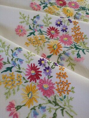 Beautiful Vintage Hand Embroidered Irish Linen Tablecloth ~ Bluebells Carnations