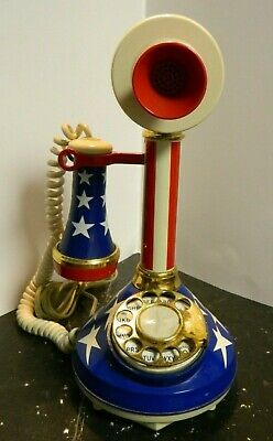 Vintage Deco-Tel Star & Stripes Rotary Dial Candlestick Telephone Phone Very Gd