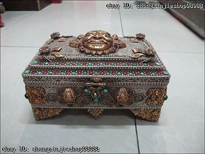 Tibet Tibetan Silver 24K gild inlay turquoise Red coral beryl jewel box