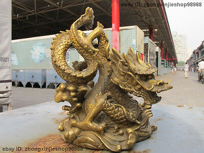 Chinese classic pure Brass whirlabout handwork carve Around Dragon statue