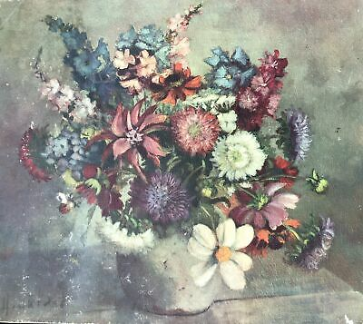 Oil Painting on artist board still life flowers early 20th century signed