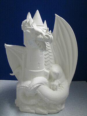 "16"" Large Dragon With Castle Doc Holliday Quality Ceramic Bisque"