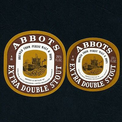26 2/3 & 13 1/3 fl. ozs. Abbots Extra Double Stout Beer Labels