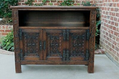 Antique French Carved Oak Neo Gothic Bookcase Display Cabinet TV Stand Sideboard