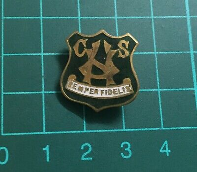 Old Brass & Enamel Button Hole Badge! high school or college? SEMPER FIDELIS