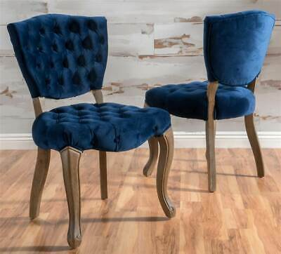 Remarkable Tufted New Velvet Dining Chair In Navy Blue Set Of 2 Id Bralicious Painted Fabric Chair Ideas Braliciousco