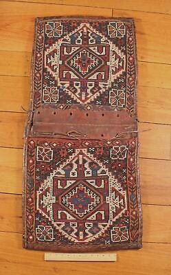 Authentic Hand Woven Middle East, Wool & Leather Kilim Tribal Saddle Bags