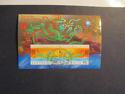 1--2000-  Christmas  Island   Mini  Sheet  -Year  Of  The  Dragon  ---Used --A1