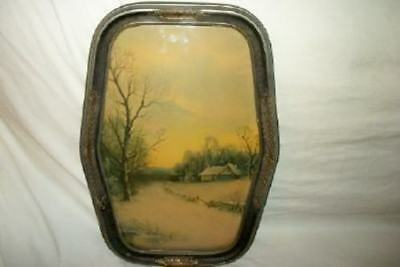 Antique Barbola Convex Glass Winter Scene Print Hexagon Chic Paris Apt Shabby