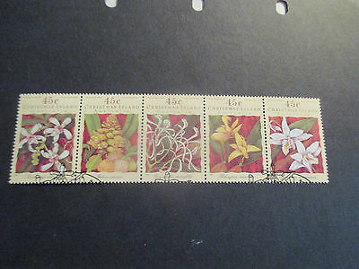 2--1994-Christmas  Island -Orchids --Strips Of 5  Stamps  --Used   --A1