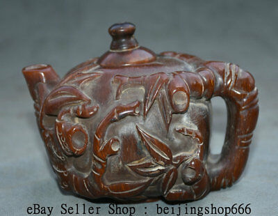 """5.4"""" Rare Old Chinese Ox Horn Hand Carved Dynasty Bamboo Handle Teapot Wine Pot"""