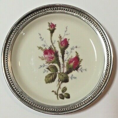 Rosenthal Pompadour Moss Rose  Coasters with Sterling Rim EUC - 11 available