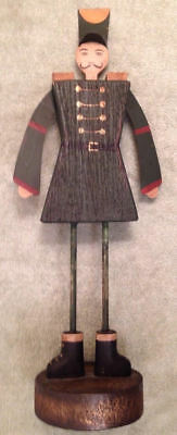 Folk Art Wood Metal Soldier Hand Painted Blue Yellow Gold Red Black Figurine