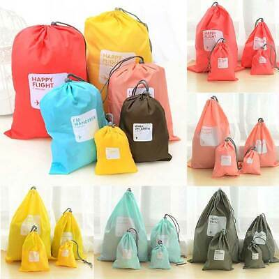 4PCS Travel Pouch Waterproof Laundry Shoe Portable Tote Drawstring Storage Bag
