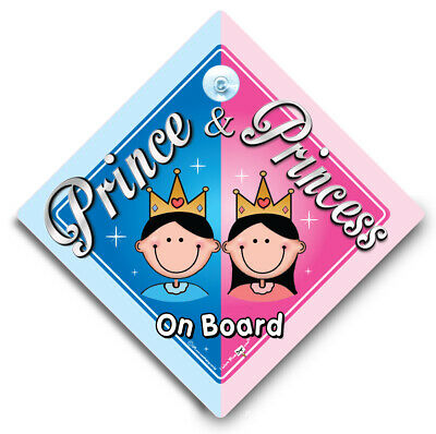 Prince and Princess On Board, Baby On Board Sign, Suction Cup Car Window Sign