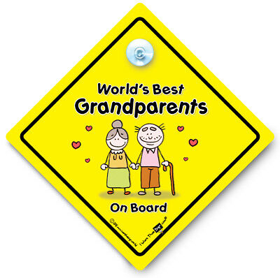 World's Best Grandparents On Board Car Sign, Yellow Suction Cup Car Window Sign
