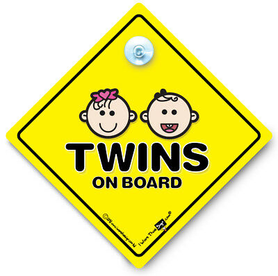 Twins On Board Car Sign, Baby on Board Suction Cup Sign, Twins One of Each