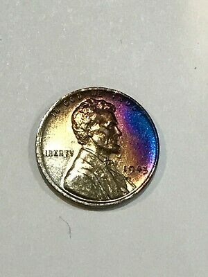 1943 P LINCOLN 1C WHEAT WAR PENNY CENT MONSTER TONED copper BLUE PURPLES #100