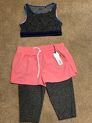 Bnwt Next Sports Leggings With Shorts Age 9 And Crop Top Age 9-10 Years