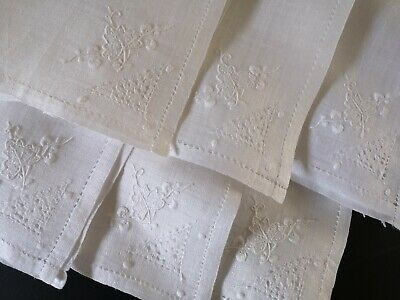 Beautiful Set 6 Vintage Hand Embroidered Madeira Napkins ~ Pina Linen White Work