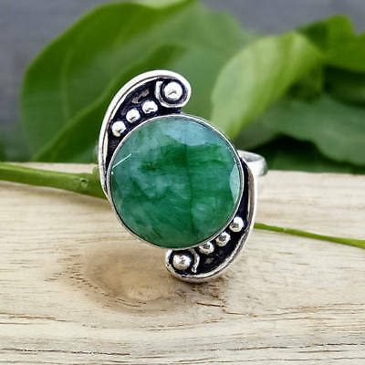 Round Faceted Green Emerald 925 Sterling Silver Ring Size 6.5