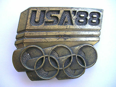 "Vintage USA'88 Olympic Belt buckle 2 5/8"" X 2 3/16"""