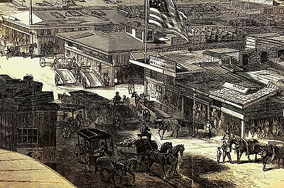 West Washington Market  Barclay Fulton Streets WHOLESALE MEAT 1866 Print Matted