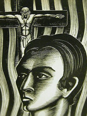 Lynd Ward 1930 COLD INTELLECT v. RELIGION JESUS on CROSS Art Deco Print Matted
