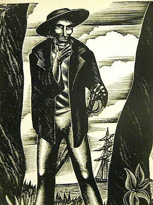 Lynd Ward 1930 SLAVE TRADER THINKS ABOUT KIPNAPPING AFRICANS Deco Print Matted