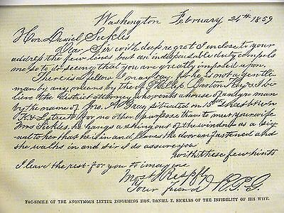 Infidelity ANONYMOUS SICKLES LETTER about WIFE CHEATING w BARTON 1859 Art Matted