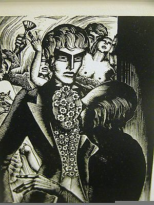 Lynd Ward 1930 FATHER at DOOR of BROTHEL PROSTITUTION PIMP Art Deco Print Matted
